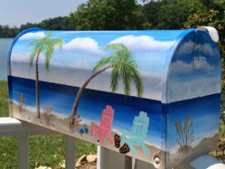 beach scene hand painted mailboxes