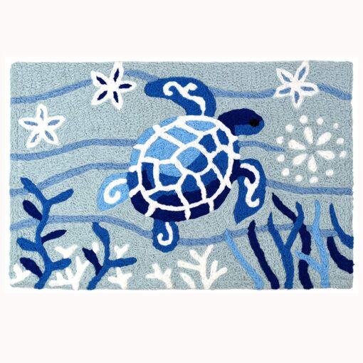 blue sea turtle jellybean rug