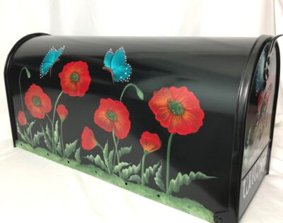 red poppies with blue butterflies